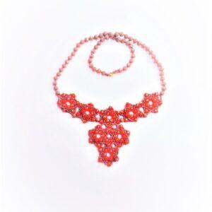 Collana Dalida, fatta a mano con rondelle sfaccettate colore corallo