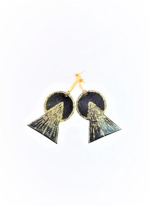 Orecchini Angel, fatti da pelle riciclata e decorati a mano