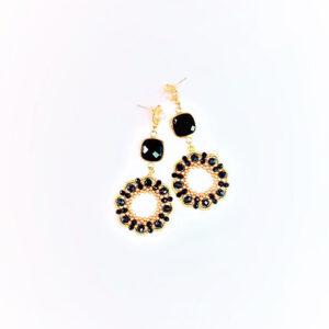 Orecchini Mystic, con perline nere e oro fatti a mano